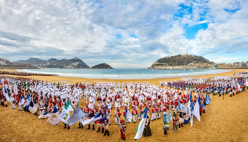 La Concha beach, Tamborrada. Inauguration of Donostia 2016 European Capital of Culture, Donostia, San Sebastian, Basque Country, Spain.